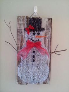 Snowman String Art. Check us out on Facebook at All Strung Up. https://www.facebook.com/pages/All-Strung-Up/915873695199667?ref=hl