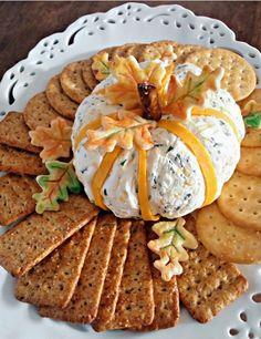 Festive Cheddar & Chive Pumpkin Cheese Ball Recipe