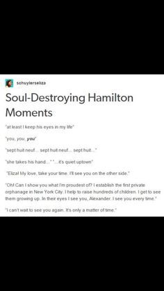 These are all the moments my heart stops beating and the tears want to fall // soul destroying hamilton moments Alexander Hamilton, Aaron Burr, Musical Theatre, Theatre Nerds, Theater, Broadway Theatre, Hamilton Lin Manuel Miranda, Hamilton Eliza, Hamilton Musical
