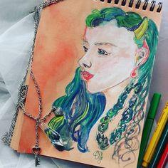 Дорисовалось) #портрет_cuona1992  Туманные сегодня чувства и ощущения.  Хочется умыться и быть бодрее. 🎈🎈  С чем у вас ассоциируется эта картина?   Интересно угадаете ли вы мои ощущения,когда я ее рисовала)  #зеленый#девушка#косы  #девушкасзеленымиволосами#волосы#прическа#цветныеволосы#арт#акварель#скетч#зарисовка#портрет#портретназаказ#яхудожник#искусство#фэнтезиарт#артфэнтези#сфс#пиаригра #лайк