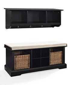 Black Brennan Two-Piece Entryway Shelf & Bench Set #zulily #zulilyfinds