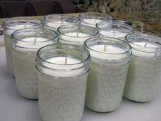 Make your own 50-hour candles for less than 2 dollars a piece. you can even add scents and color. All natural soy.