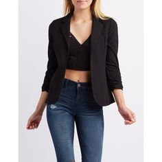 Charlotte Russe Ruched Sleeve Blazer ($35) ❤ liked on Polyvore featuring outerwear, jackets, blazers, black, charlotte russe, 3/4 sleeve blazer, charlotte russe blazer, open front jacket and three quarter sleeve blazer