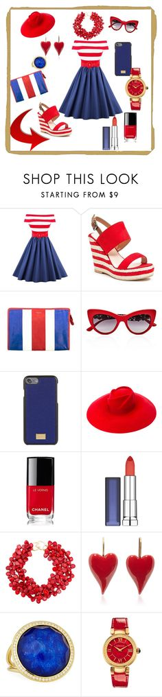 """Ready for 4th of July👍❤️"" by ipekzsuel on Polyvore featuring French Blu, Balenciaga, Dolce&Gabbana, Gucci, Chanel, Maybelline, Kenneth Jay Lane, Ippolita and Versace"