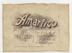 Label Bottle Armartico Tonic Liqueur G Simon & Whelen Thames st London Vintage Wine, Vintage Ads, British Beer, Henley On Thames, Ginger Beer, Beer Label, Pick Me Up, Bottle Labels, Brewery