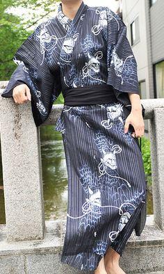 "Japanese Men's Traditional Summer Kimono ""Yukata"" L-10 Black Hannya from JAPAN #Kimono"