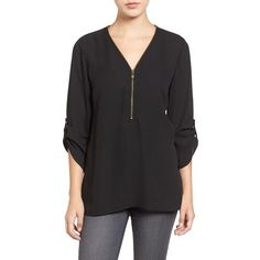 Women's Chaus Zip V-Neck Blouse (€62) ❤ liked on Polyvore featuring tops, blouses, rich black, zip top, v-neck tops, v neck blouse, chaus tops and chaus blouses