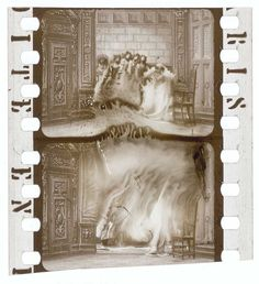 """Italian film historian Davide Turconi collected 35mm nitrate film clippings, which are now part of the Davide Turconi Project. Joshua Yumibe has provided a selection of clips in the advanced stages of nitrate decomposition. Joshua states """"such frames make up a relatively small yet remarkable portion of the collection"""