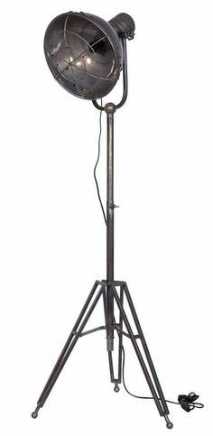 Stoere blank ijzeren staande lamp, vloerlamp Spotlight van BePure.