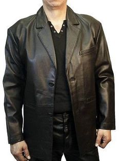 Mens 3 Button Black Lambskin Leather Blazer Jacket Soft and Light | Leather  men