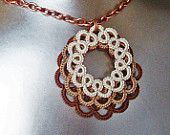 Lace Necklace . Layered Circles in shades of mocha . FREE SHIPPING