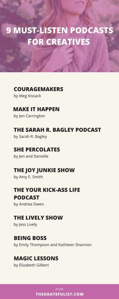 9 must-listen podcasts for creatives and recovering perfectionists Ted Talks, Self Development, Personal Development, Girl Boss, Boss Babe, Stressed Out, Life Advice, Branding, Self Improvement