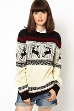 deer knitted sweater shorts blue jeans Style outfit fashion apparel women clothing