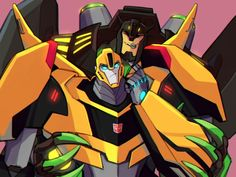 Grimlock and bumblebee from transformers 2015 art is not mine and I secretly ship this :3