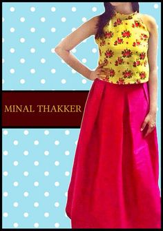 Yellow floral halter top with evergreen box pleated skirt