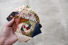 This block is from Edyta Sitar book called Handfuls of Scraps. Her Hope Chest Prints fabrics are many of the scraps. Lap Quilts, Scrappy Quilts, Small Quilts, Mini Quilts, Quilt Blocks, Scrappy Quilt Patterns, Laundry Basket Quilts, Miniature Quilts, Doll Quilt
