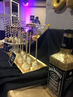 Jack Daniels birthday party - all decor & candy Station by Yascodesigns