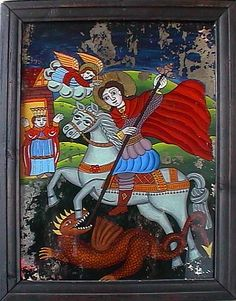 Gheorghe ucigand Balaurul_oglinda - Icons painted on glass. Saint George And The Dragon, Orthodox Icons, Sculpting, Folk, Religion, Teaching Resources, Glass, Spirit, Painting