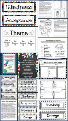 Teaching Theme in Literature Unit!  Huge packet contains theme labels, Common Core Posters, I Can Posters, Foldables, Mini Book, Theme Matching Activity, Fables with Questions, Writing Activity, and More!  Grades 3-6.