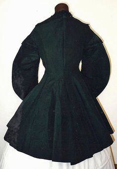 "1850-60s Black Silk Taffeta Coat by MartinsMercantile on Etsy. ""1860s Green Silk Gathered Bonnet. Etsy MartinsMerchantile: ""Black silk taffeta coat with bishop sleeves and two pockets on either side of the ""long basket"". The coat is unlined."""