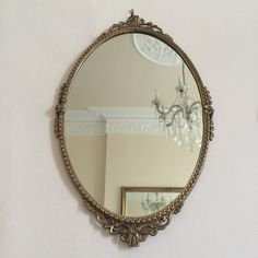 An Oval Vintage Gold Mirror - Miroir Vintage Doré Ovale - Free delivery UK France
