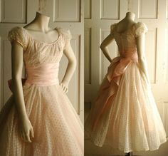 1950s Pink Wedding Dress / Vintage Pastel Tea Length Dress