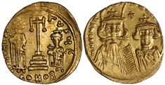 Byzantine Gold Constantine IV 662 AD / Cross on Alter, Heraclius & Tiberius EF / MAD on Collections - Browse and find over 10,000 categories of collectables from around the world - antiques, stamps, coins, memorabilia, art, bottles, jewellery, furniture, medals, toys and more at madoncollections.com. Free to view - Free to Register - Visit today. #Coins #Gold #Ancient #MADonCollections #MADonC