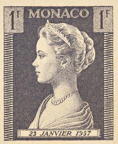 Estampilla de Mónaco con imagen de la Princesa Grace Kelly (1957).