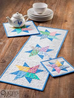 This project is featured in Summer 2020 Quilter's World magazine. Colorful Ice Cream, Star Quilt Blocks, How To Make Notes, Mug Rugs, Modern Prints, Machine Quilting, Quilt Making, Quilting Projects