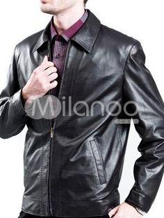 Vintage Black Leather Turndown Collar Mens Leather Jacket. See More Mens Leather Jackets at http://www.ourgreatshop.com/Men-039-s-Leather-Jackets-C781.aspx