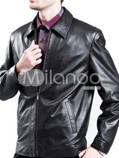 Vintage Black Leather Turndown Collar Mens Leather Jacket. See More Mens Leather Jackets at http://www.ourgreatshop.com/Men-039-s-Leather-Jackets-C781.aspx