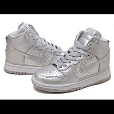Silver Sequin Nike Dunks High Tops All Silver Sequin Nike Dunks High Tops Women's Shoes. Worn once. Brand new condition. Brand: Nike. Size: 6.5. Nike Shoes
