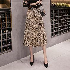 8994b0e4e9 female pleated skirts leopard print A-Line skirts frill hem Khaki  Item  code 9884666