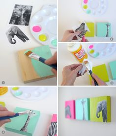 DIY Nursery animal art made with mod podge. So cute and colorful!