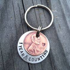 So cute for a One Year Anniversary Gift! Luck Penny Keychain / Anniversary Keychain