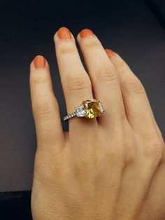 Amazing 4.88 ct Radiant Cut Fancy Yellow Brown Diamond Platinum 18K Yellow Gold Engagement Ring | I Do Now I Don't