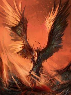 The Lights of Death by Exileden on DeviantArt Mythical Creatures Art, Mythological Creatures, Fantasy Creatures, Phoenix Artwork, Phoenix Images, Phoenix Bird Tattoos, Dragon Bird, Vogel Tattoo, Dream Fantasy