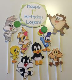Set of 9 - Baby Looney Tunes Characters Centerpiece Picks - Bugs Bunny, Lola Bunny, Daffy Duck, Tweety Bird, Sylvester, Taz, Road Runner by 559Designs on Etsy https://www.etsy.com/listing/295164251/set-of-9-baby-looney-tunes-characters