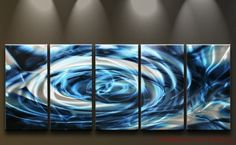 Metal Wall Art Abstract Modern Contemporary Huge Sculpture Blue White Storm Sky | eBay