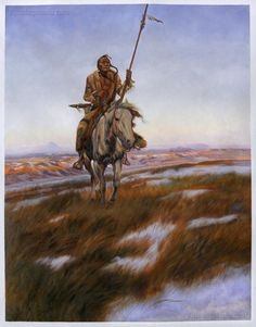 A Cree Indian - Charles Marion Russell high quality hand-painted oil painting reproduction (31.1 x 24 in.)