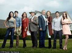 Reboot: Hagman is pictured with the revamped cast of Dallas to promote season one. (L-R) Jordana Brewster, Josh Henderson, Gray, Hagman, Duffy, Strong, Jesse Metcalfe, Julie Gonzalo