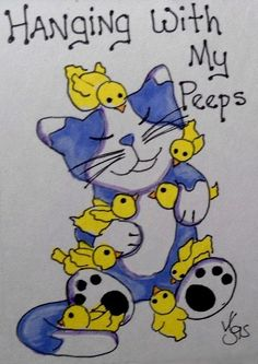 "Aceo Original   ""PEEPS""  pencil/ink  #OutsiderArt"