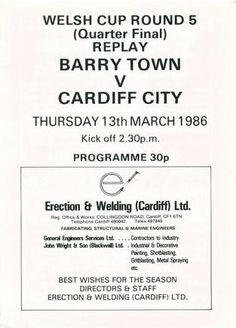 Cardiff City (H), 1986 Welsh Cup Quarter Final Replay. City H, Cardiff City, Archive, Replay, Welsh, Soccer, Football, Retro, Sports
