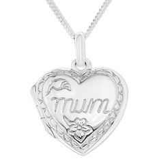 Ornami Embossed Design Mum Sterling Silver Locket with 46 cm Chain