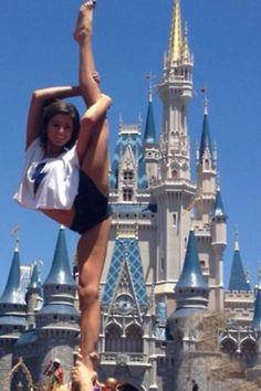 #cheer scorpion needle stunt cheerleading cheerleader Disneyland, from Kythoni's Cheerleading: Stunts: Bow & Arrow, Heel Stretch, Scorpion & Scale board http://www.pinterest.com/kythoni/cheerleading-stunts-bow-arrow-heel-stretch-scorpio/  m.143.38 #KyFun