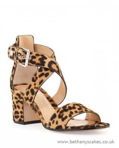Womens - Gianvito Rossi Leopard Print Calf Hair Low Heel Sandals - F2H0293745