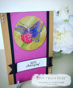 A5 craft card with freehand butterfly design using Spectrum Noir colourblend pencils, primaries, essentials and florals by Sarah Kay #spectrumnoir #handmade #butterfly