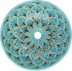 Mexican Tile – Turquoise Peacock Round Vessel Above-the-Counter Bathroom Mexican Talavera Lavatory Sink