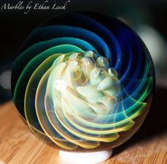 "1.52"" HANDMADE MARBLE SIGNED BY ~ETHAN LESCH~ BOROSILICATE, BORO, ART, MIB #Glass"