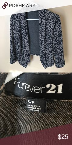 Forever 21 cardigan adorable cheetah print cardigan, blazer shaped but soft cloth. can be dressed up with nice slacks or dresses down with black jeans! Forever 21 Sweaters Cardigans